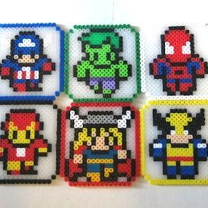 Perler Beads Set of 6 Avengers Coasters
